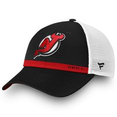71a081eaaea Men s New Jersey Devils Fanatics Branded Black White Authentic Pro Rinkside Trucker  Adjustable Hat