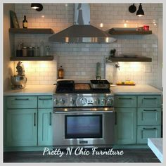 Kitchen painted by Pretty N Chic Furniture using all Miss Lillians No Wax Chock Paint products. Patina, burnt umber glaze, Lack luster Poly acrylic https://www.facebook.com/PrettyNChicFurniture/  Painted Kitchens, green kitchen cabinets, teal green kitchen