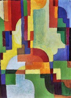 Colored forms (I) by August Macke. Order from DEKORAMI as a poster, canvas print, mural. Zamów jako  obraz na płótnie, plakat lub fototapetę na DEKORAMI.pl.