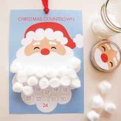 Kids will love this Christmas countdown idea! Add cotton wool balls to Santa's beard as the month...