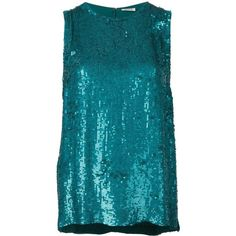P.A.R.O.S.H. sequinned tank top ($219) ❤ liked on Polyvore featuring tops, blue, sequin embellished top, sequin top, blue sequin top, blue sequin tank and blue tank top