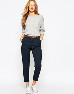 Image 1 of asos chino trousers with belt office attire women casual, smart casual outfit Casual Work Outfits, Mode Outfits, Work Attire, Work Casual, Casual Chic, Casual Wear, Casual Dresses, Fashion Outfits, Womens Fashion