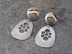 Sterling Silver and Polychrome Jasper Earrings by Leslie Zemenek / Z Leslie Jewelry
