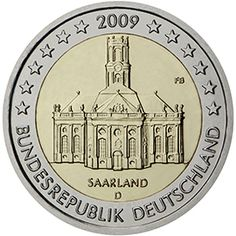 Detailed image and information about 2 euro coin Ludwigskirche in Saarbrücken (Saarland) from Germany issued in The coin is part of series Commemorative 2 euro coins. Visit the best collector and commemorative coin website: The Collector Coins. Euro Währung, Germanic Tribes, World Aids Day, Euro Coins, Commemorative Coins, Gold Bullion, World Coins, Money Matters, Coin Collecting