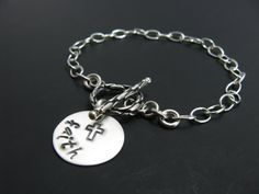 Faith Chain Sterling Silver Stamped Cross Bracelet by BooBeads