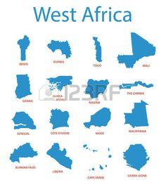 África Occidental - Mapas vectoriales de territorios. West Africa,