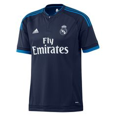 Fans love Real Madrid, and their superstars Cristiano Ronaldo, Gareth Bale, Karem Benzema, and James Rodriguez. Get the 2015-16 adidas Real Madrid 3rd jersey today and show your love. This youth Real Madrid jersey features a dark blue color with light blue accents. Get your Real Madrid kit today at SoccerCorner.com  http://www.soccercorner.com/Adidas-Real-Madrid-Third-Youth-15-16-Soccer-Jers-p/ttyads12673.htm
