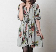 Simple comfortable cotton babydoll long sleeved dress In by MaLieb