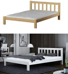 Das weiße Bett mit elegantem Kopfteil eignet sich ideal für jedes Schlafzimmer. Bei uns finden Sie auch passende Nachttische und  Unterbettschubladen.   #Bett #Kiefernholz #Gästebett #Ehebett #Doppelbett #Kiefer