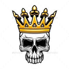 Buy King Skull in Royal Gold Crown by VectorTradition on GraphicRiver. Crowned king skull symbol of spooky human cranium with royal gold crown. For tattoo, t-shirt print or Halloween desig. Halloween Designs, Halloween Themes, Skull With Crown, Gold Crown, Amoled Wallpapers, Wing Tattoo Designs, Skull Artwork, Human Skull, Skull Tattoos