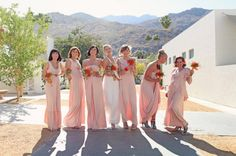 Mix and Match Bridesmaid Dresses - All one Hue, All one Length, Varying necklines