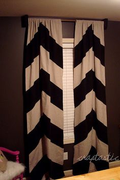 $10 Painted Drop Cloth Chevron Curtains
