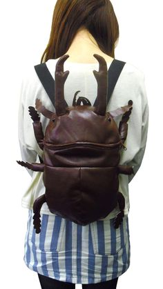 "stirdrawsandreblaws: "" argylsocks: "" chinburd: "" primafeuille: "" Giant Stag Beetle backpack "" visceradolly "" i need to finish my encyclopedia, who's got a net? Cool Outfits, Fashion Outfits, Womens Fashion, Fashion Tips, Estilo Geek, Visual Kei, Purses And Bags, Fashion Accessories, Backpacks"