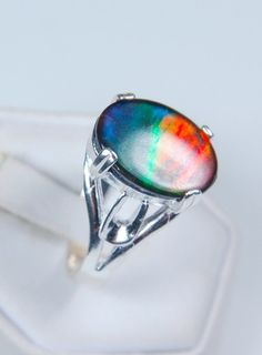 Gentlemans Size 12 Ammolite ring.Large 16x12mm top quality gem in sterling ilver.
