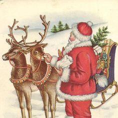 Santa Claus Feeds His Reindeer Embossed Vintage by TheOldBarnDoor