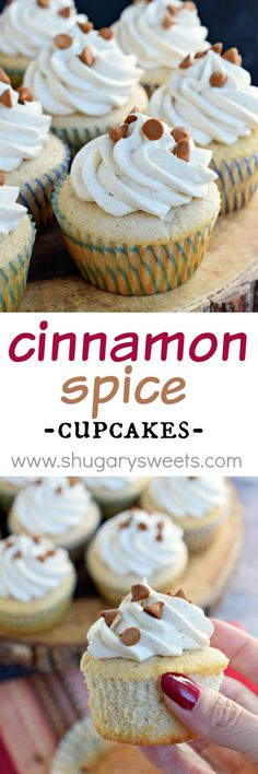 Looking for a delicious, from scratch spice cupcake recipe? These Cinnamon Spice Cupcakes with sweet cinnamon buttercream frosting are homemade and absolutely wonderful!