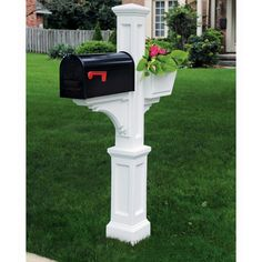 Shop Mayne White Polymer Mailbox Post at Lowes.com