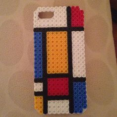 Inspired Mondrian phone cover hama beads by piksel_sanat