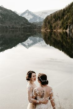 This LGBT winter wedding in the Bavarian Alps is so stunning, you'd think it was from a modern-day Disney movie. Snow Wedding, Elopement Wedding, Elope Wedding, Destination Wedding, Dream Wedding, Winter Wedding Inspiration, Elopement Inspiration, Modern Day Disney, Lgbt Couples
