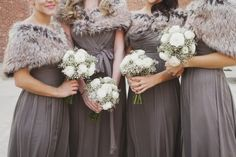 61 ideas for wedding winter grey bridesmaid dresses Winter Wedding Bridesmaids, Grey Bridesmaids, Winter Weddings, Pewter Bridesmaid Dresses, Bridesmaid Bouquets, Bridesmaid Accessories, Wedding Accessories, Bridesmaid Shoes, Bridesmaid Ideas