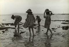 Girls exploring rock pools - Cameron Bay, 1909