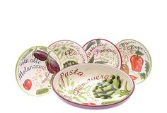 Bring the taste of Italy to your table with this 5-piece pasta set. Featuring a large serving bowl and four pasta bowls, this set is crafted of stoneware and hand-painted in a charming vegetable motif.