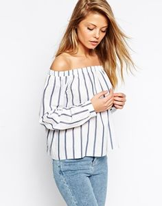 ASOS Long Sleeve Off The Shoulder Top in Blue/White Stripes - £30