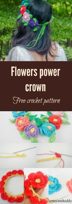 Free crochet flower crown pattern by jennyandteddy. learn how to make this easy free flowers crown with very detail step by step photo tutorial and great for beginner.