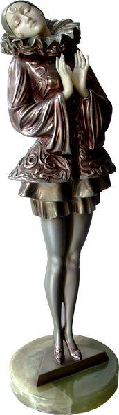 Art Deco bronze and ivory pierrette by Paul Phillipe. Austria c1930