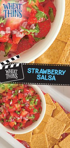 Set the stage for summer with this blockbuster fruit salsa starring strawberries and WHEAT THINS! It's so fresh and easy, it's bound to become a summer recipe repeat. Mix together honey, lime juice and lime zest until well blended. Combine that with chopped strawberries and finely chopped red onions, cilantro and jalapeños peppers. Refrigerate it for one hour and serve with WHEAT THINS Big Snacks for a refreshing snack that serves 26. Fruit Recipes, Mexican Food Recipes, Appetizer Recipes, Vegan Recipes, Snack Recipes, Cooking Recipes, Drink Recipes, Easy Recipes, Recipies