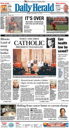 Daily Herald front page, Nov. 17, 2013; http://eedition.dailyherald.com/;