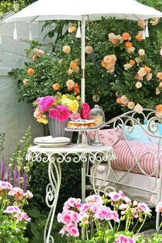A darling side table for afternoon tea in the secret garden