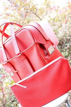 Vintage Red Samsonite Fashionaire Tote with Interior Snap In Clutch - Perfect for Use as a Diaper Bag! on Etsy, $60.00