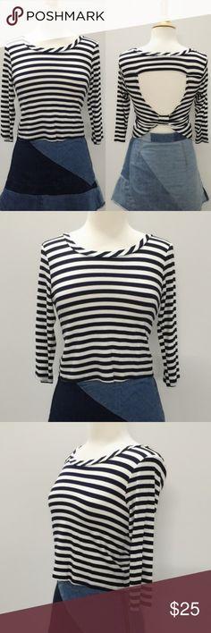 NWT 3/4 Sleeve Open Back Stripe Top Open back top. 3/4 sleeve top. Dark navy strips. 96%rayon 4% spandex. Tops Tees - Long Sleeve