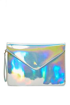 Holographic clutch from NastyGal.com.