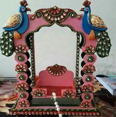 Ganpati Decoration Design, Mandir Decoration, Thali Decoration Ideas, Ganapati Decoration, Diy Diwali Decorations, Diy Wedding Decorations, Festival Decorations, Diwali Diy, Diwali Craft