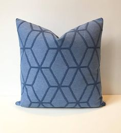 Bright blue geometric cube indoor outdoor decorative pillow
