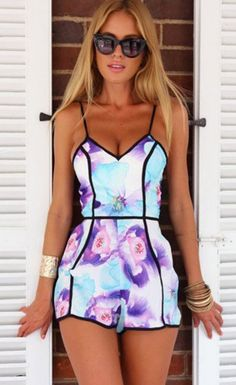 $37.99 V-Neck Strap Print Multi-colors Short Jumpsuit