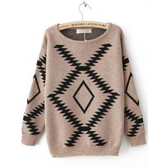 Geometric Diamond Pattern Loose Bat Sleeve Sweater Brown$52.00 ($42) found on Polyvore