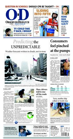 The front page for Saturday, Feb. 9, 2013: Predicting the unpredictable