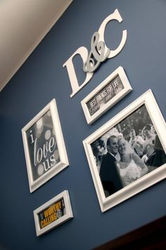 Beautiful gallery wall on a budget - I love the initials!