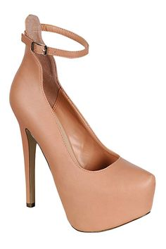 BASIC ANKLE STRAP PUMPS-Nude