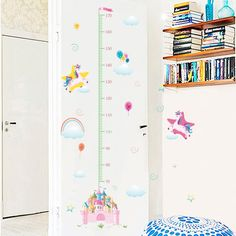 """Cartoon Unicorn Height Measure Wall Stickers for Kids Rooms Growth Chart Wall Decals Children Nursery Bedroom Decor Mural Gift"" Nursery Stickers, 3d Mirror Wall Stickers, Kids Wall Decals, Art Wall Kids, Wall Art, Kids Room Murals, Kids Rooms, Cartoon Wall, Cartoon Unicorn"