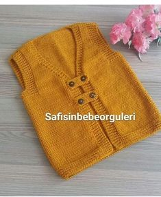 Knit Yellow Front Button Baby Boy Mane – maallure The Effective Pictures We Offer You About Crochet Pattern for kids toys A quality picture can. Easy Baby Knitting Patterns, Baby Sweater Knitting Pattern, Knit Vest Pattern, Baby Patterns, Knit Patterns, Baby Cardigan, Crochet Dress Outfits, Crochet Baby, Knit Crochet