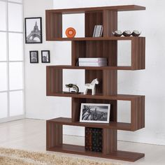 Hokku Designs Marcel Bookcase/Display Stand in Matte Walnut. Great room dividing piece if wanted.