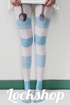 These tights have made me really really want to put together a totally powder-blue-and-white outfit. Alice in Wonderland style of course. Blue And White Outfits, Black And White, Quirky Fashion, One Size Fits All, Alice In Wonderland, Thighs, Dress Up, Stockings, Cute