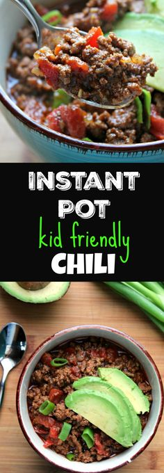 Instant Pot Kid Friendly Chili ready in under 30 minutes. Bean free to appeal to kids but feel free to add the beans if that's not a problem. This is the recipe that finally got my kids on board with eating chili. Perfect for a quickie dinner, football game food, party appetizer. #instantpot #pressurecooker #chili #kidfood