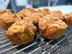 Pumpkin Apple Oat Muffins from Food.com:   Our toddler can't get enough of these and neither can we! They're moist and healthy muffins that are packed with lots of nutritious ingredients. Sometimes I top them with granola or a brown sugar streusel. They're heavy enough to fill a little one's tummy and keep them going all morning long. Tasty and low fat!