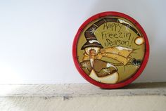 Snowman Candy Tin~ Hand Painted Rustic Snowman Candy Tin in Red~ Happy freezin season!