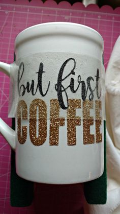 Layering two colors of glitter heat transfer vinyl is easy - even on a mug!